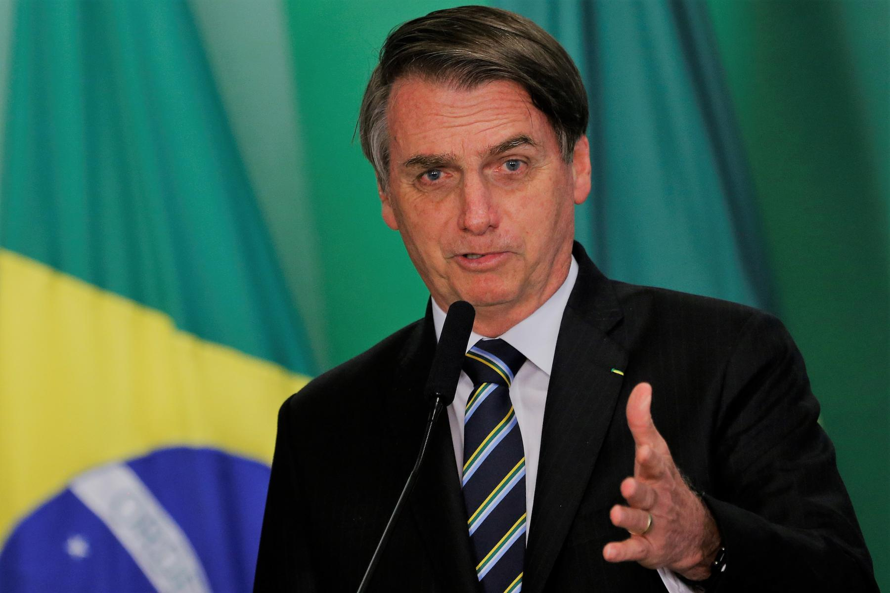 An image of Jair Bolsonaro, the President of Brazil, speaking at his inauguration ceremony in January 2019.
