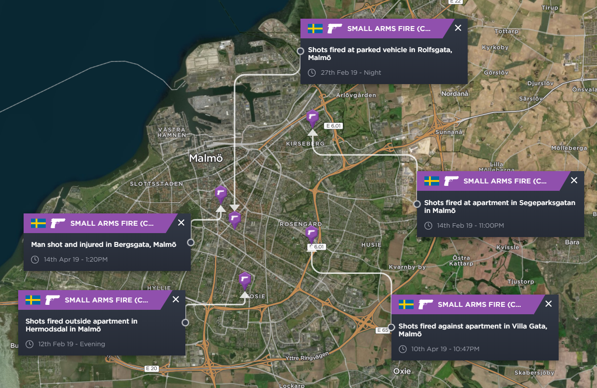 A map highlighting the incidents of gun crime in Malmo in 2019 so far