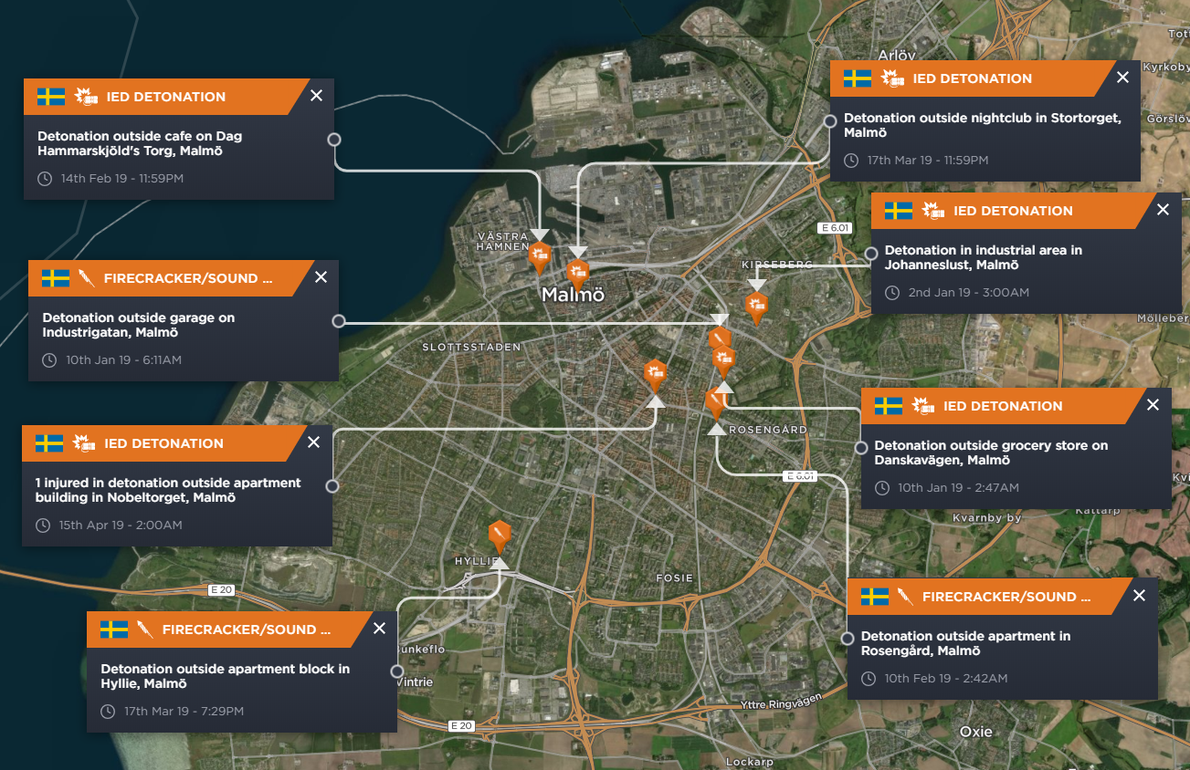 Incidents of explosions, IED detonations and firecrackers throughout the city of Malmo in 2019 to date