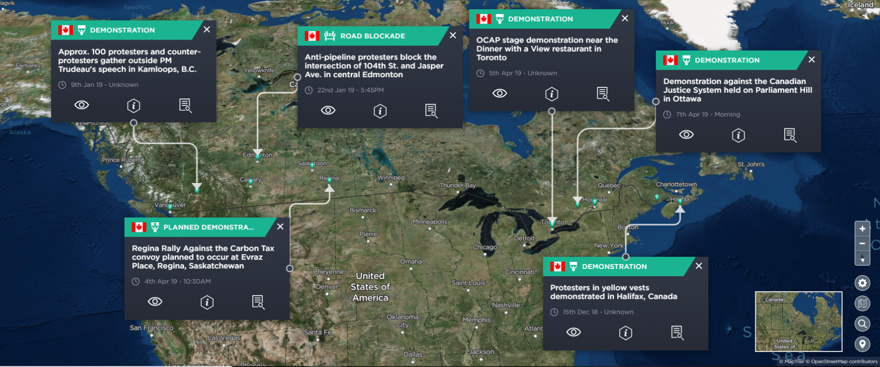A map showing the various yellow vest protests and pipeline demonstration in Canada throughout 2019