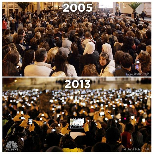 The unveiling of Pope Benedict in 2005 and Pope Francis in 2013 comparison
