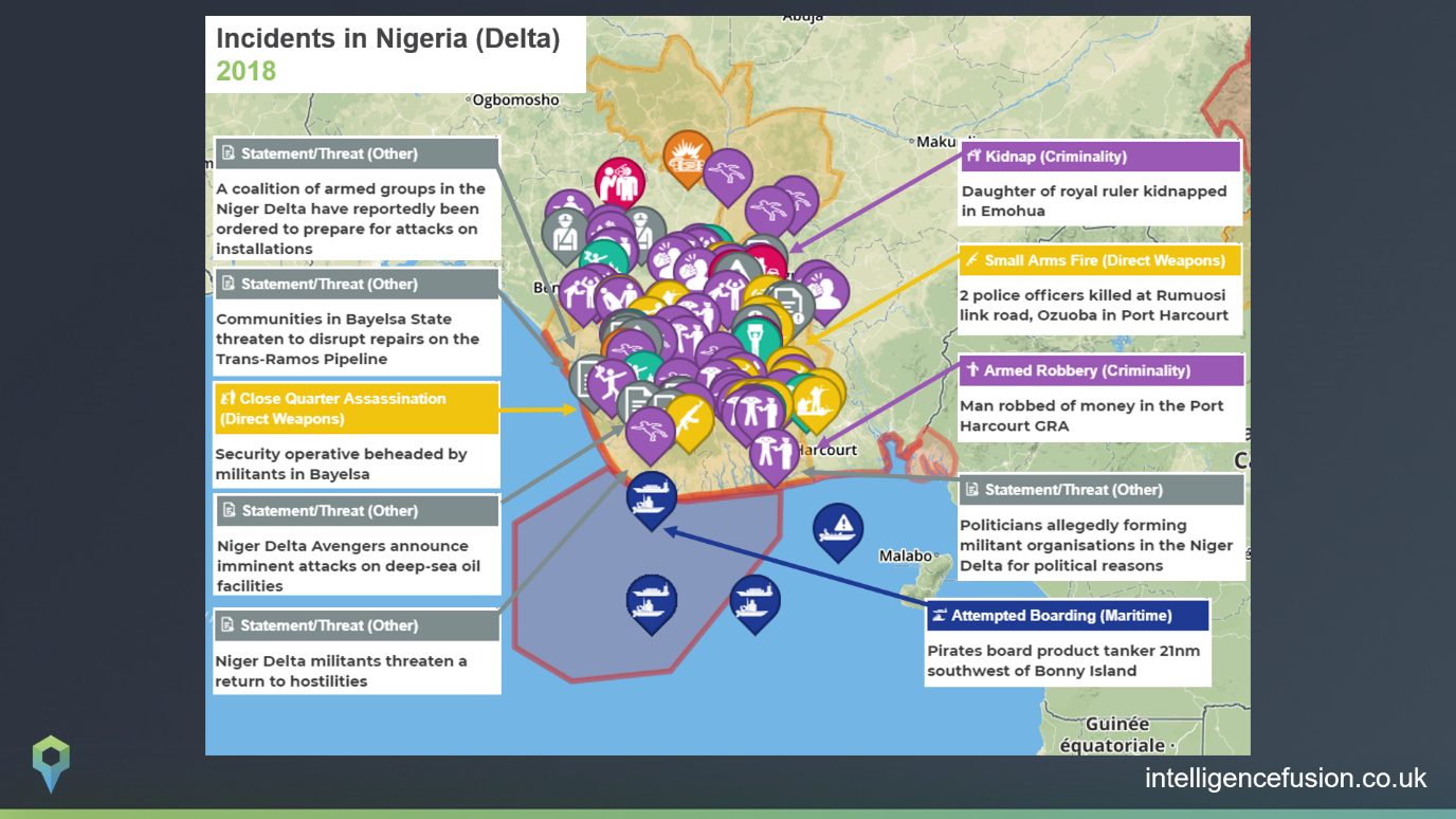 Security incidents across Nigeria that affect the oil and gas industry in 2018