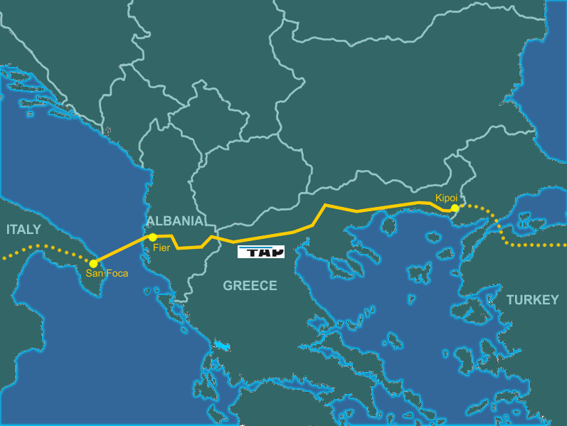 Map depicting the trans adriatic pipeline