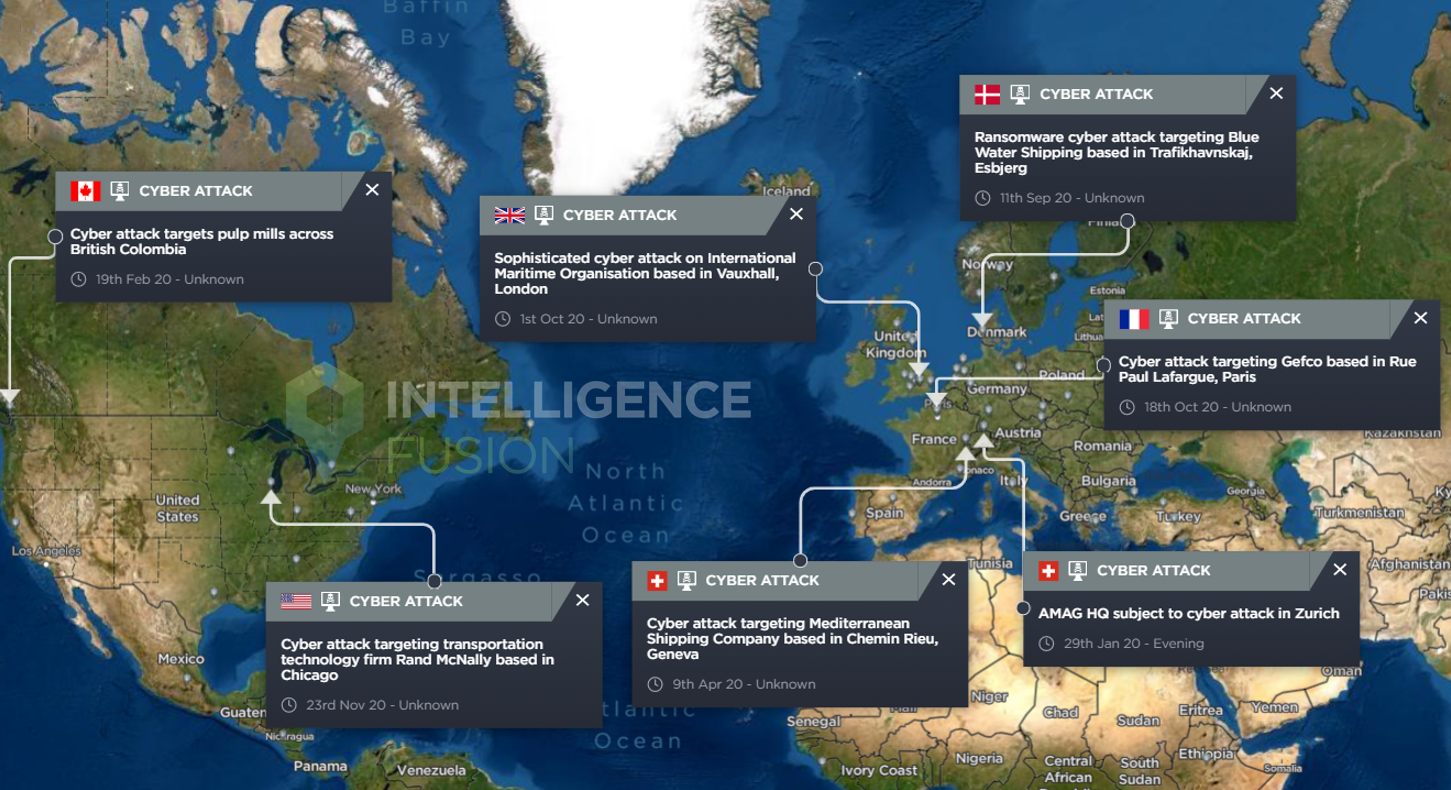 A map highlighting the location of cyber attacks on logistics and shipping companies throughout 2020