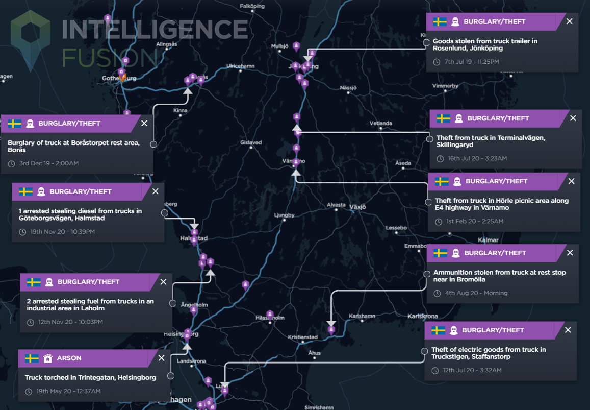 Snapshot of crime affecting trucks across southern Sweden