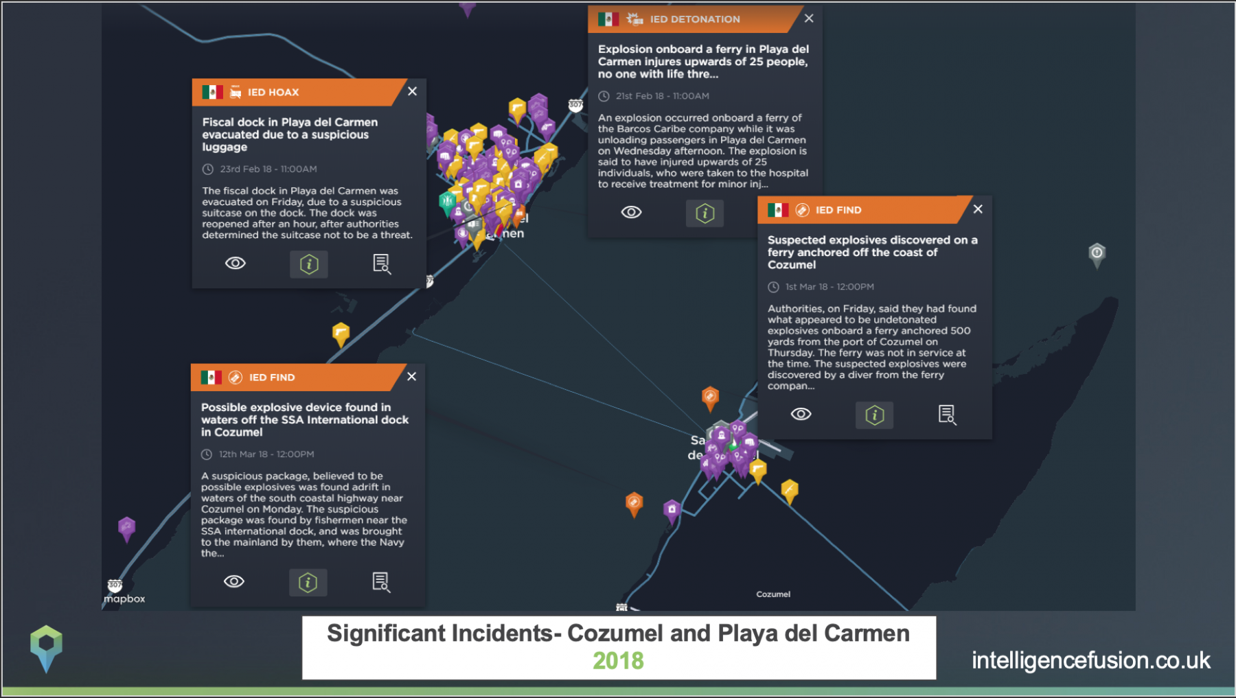 Significant incidents plotted on a map that affect the Caribbean cruise industry in Cozumel and Playa del Carmen