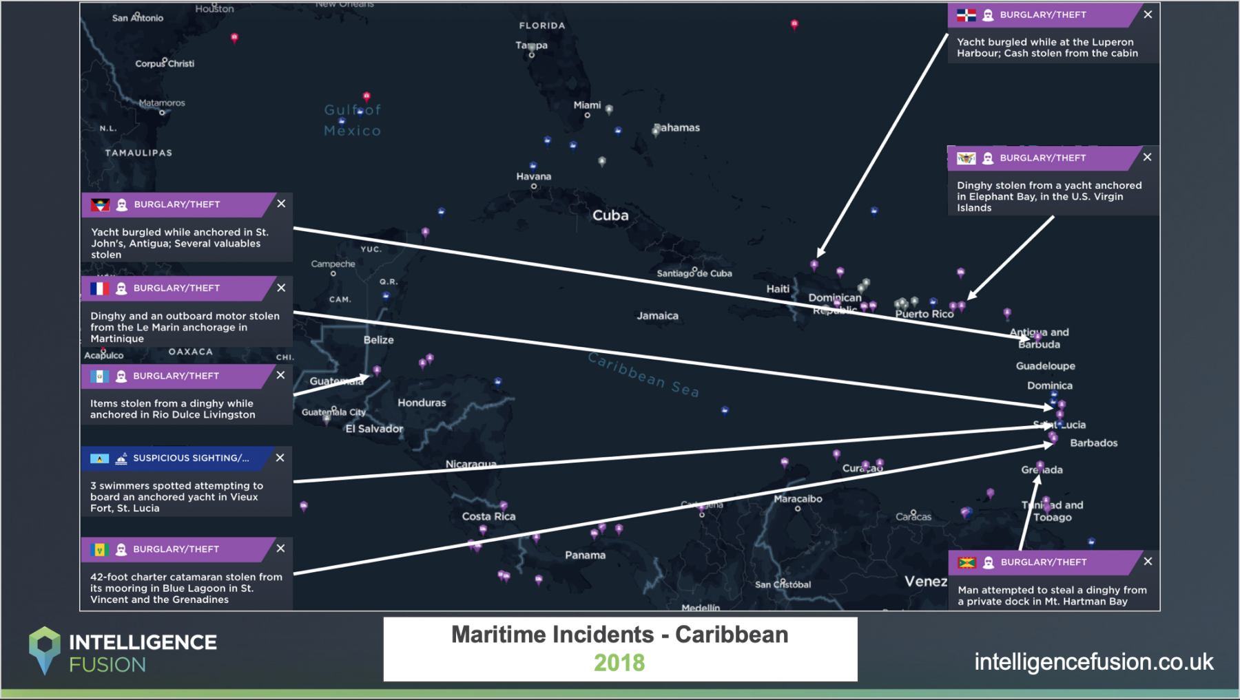 A map showing the location of significant maritime security risks in the Caribbean throughout 2019