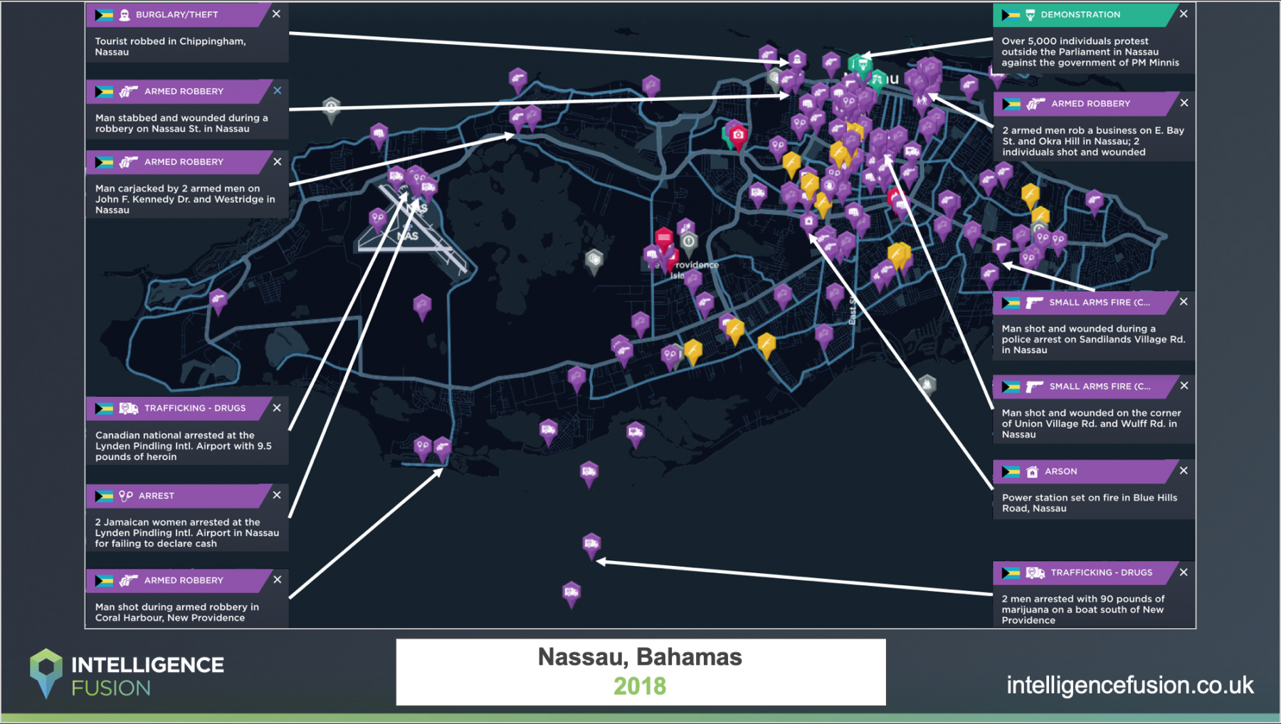 A map depicting the significant security incidents in Nassau, Bahamas