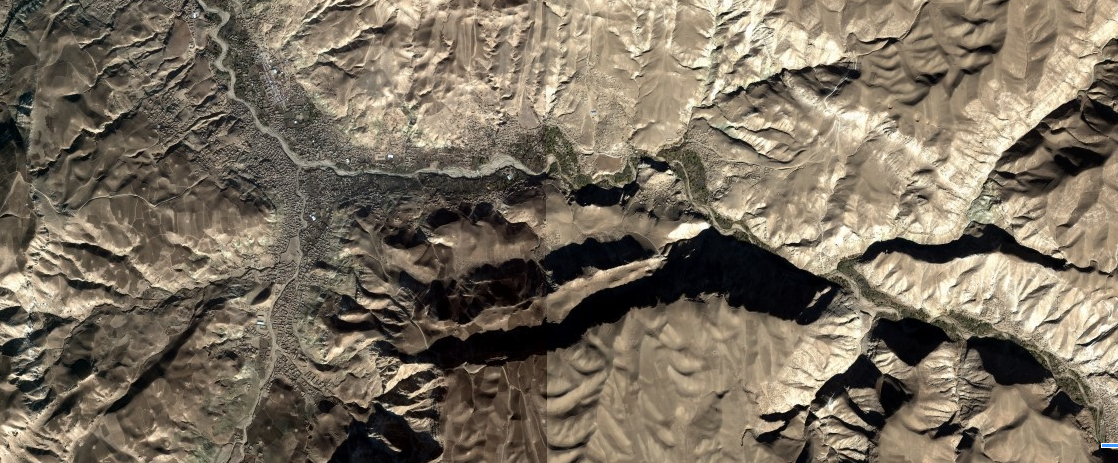 Satellite image of the Darzab district, Jowzjan, where IS-KP made a last stand.