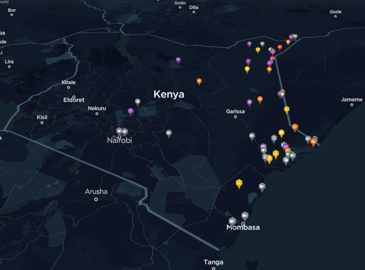 Security operations, arrests, attacks and threats linked to Al Shabaab between 2018 and 2019.