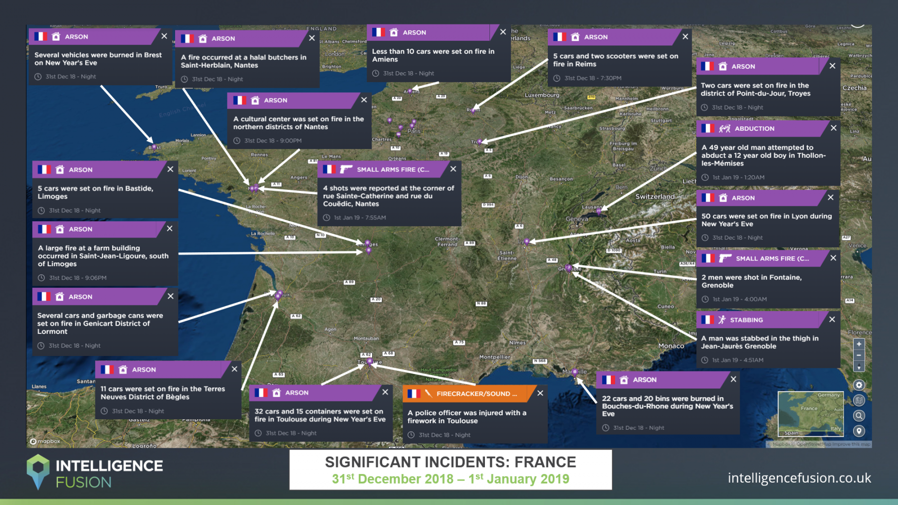 A map highlighting the severe criminality reported across France on New Years Eve 2018/19