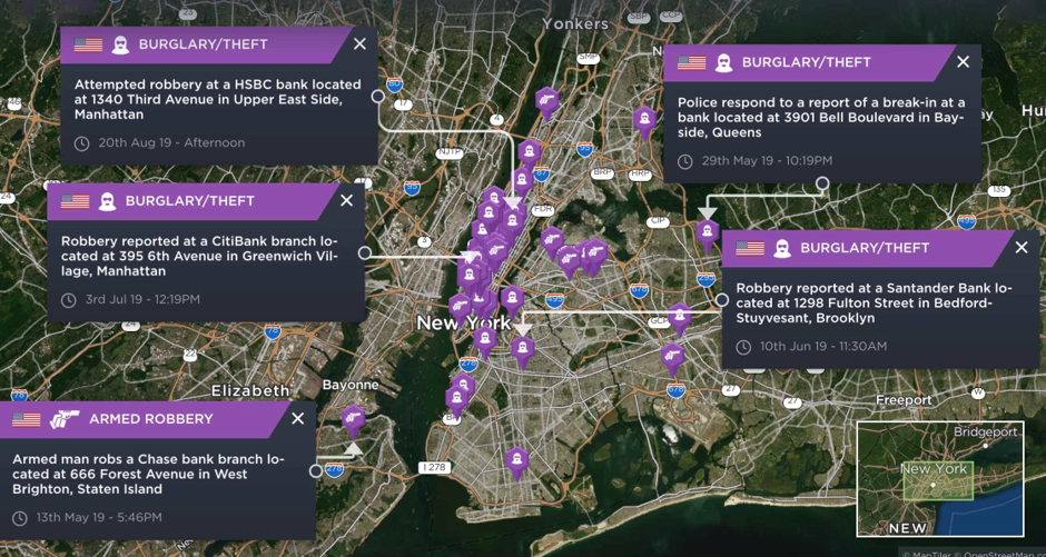 A selection of bank robbery incidents recorded across New York City in 2019