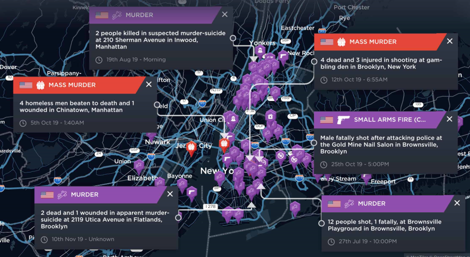 High profile incidents or incidents resulting in high casualty figures across New York City in 2019