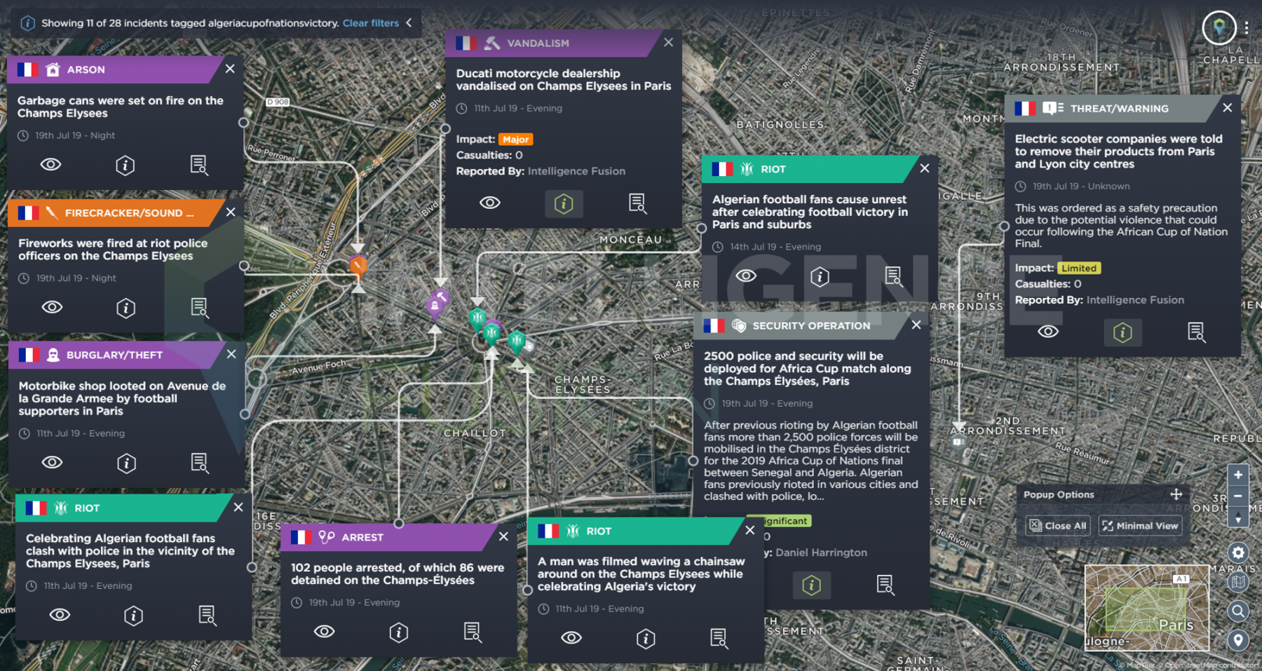 A map of the incidents along Champ Elysee in Paris during the African Cup of Nations tournament