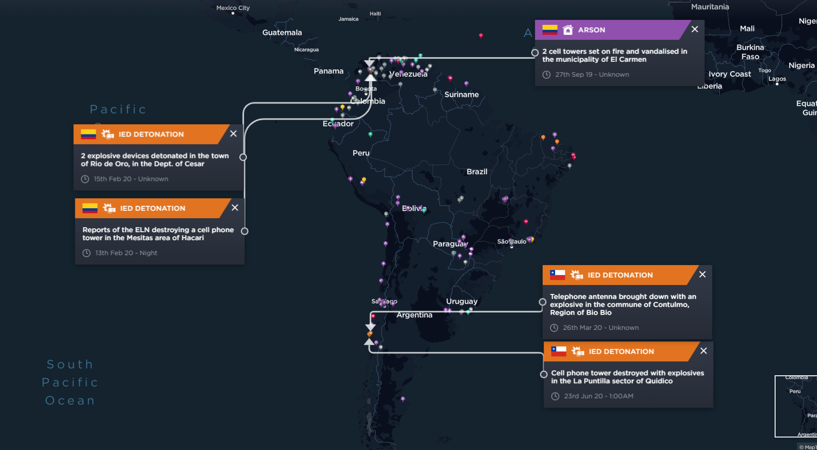 Attacks on telecommunications towers in Chile and Colombia conducted by armed groups in 2020.