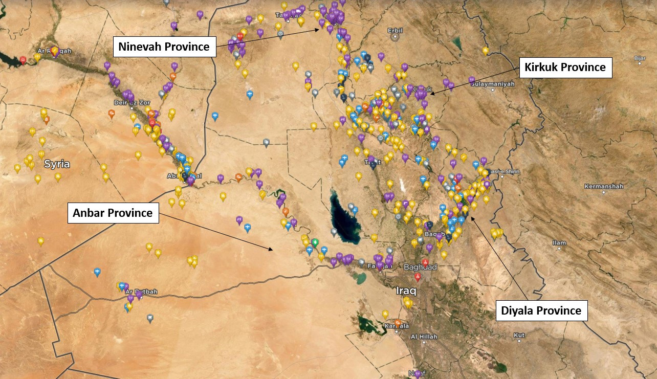 Heatmap of Islamic State Activity across Iraq in 2019