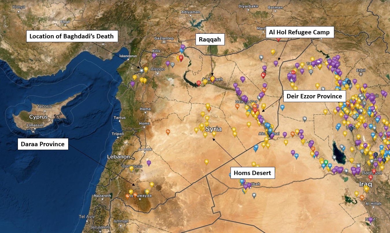 Heatmap of Islamic State Activity across Syria in 2019