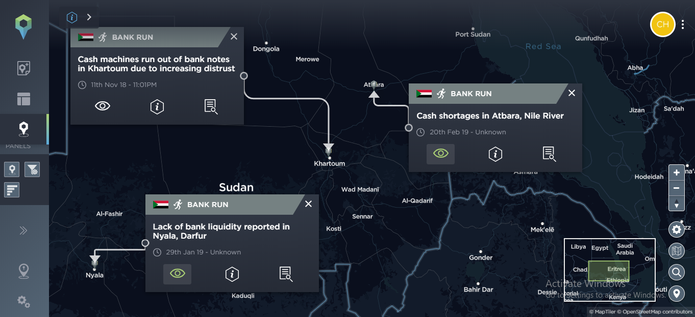 A selection of threat incidents related to cash problems in Sudan