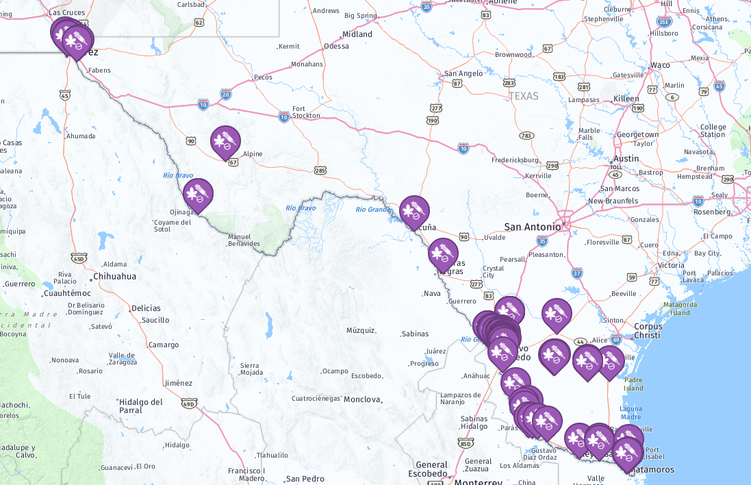 Incidents of drug trafficking recorded along the Texas border since January 1st, 2018