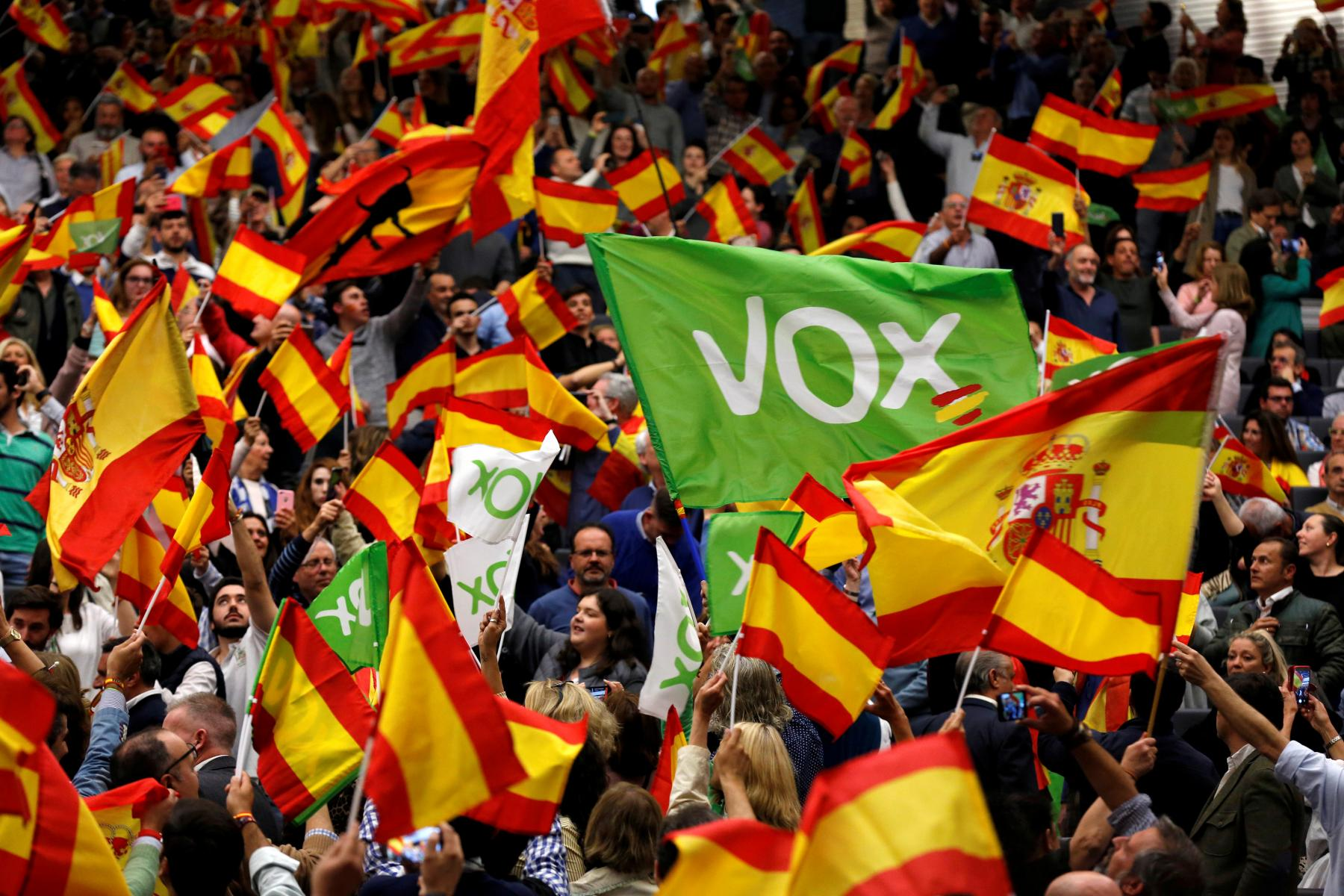 Supporters of the Spain's far-right party VOX wave Spanish flags as they attend an electoral rally ahead of general elections in the Andalusian capital of Seville