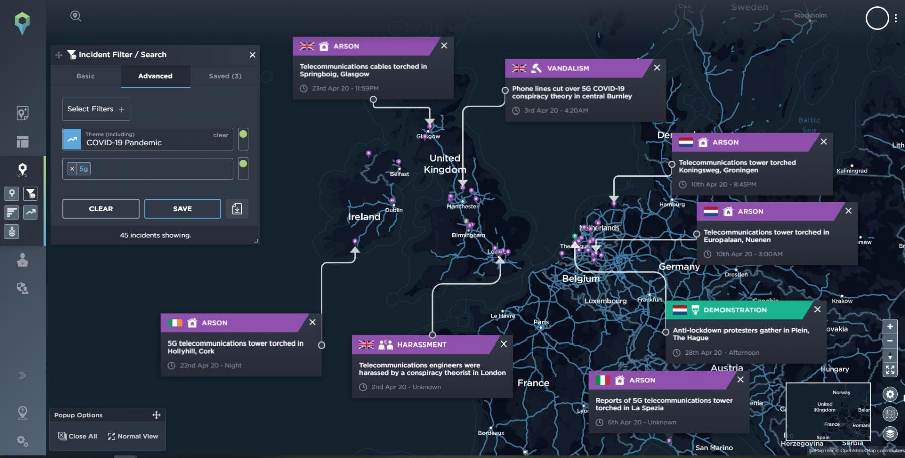 Map highlighting a selection of incidents that show a rise in attacks against 5G masts amidst the conspiracy theory regarding COVID-19