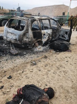 A image showing one of the vehicles destroyed by Islamic State in the Tajikistan attack