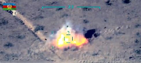 Drone strike footage released by the Azerbaijani MoD
