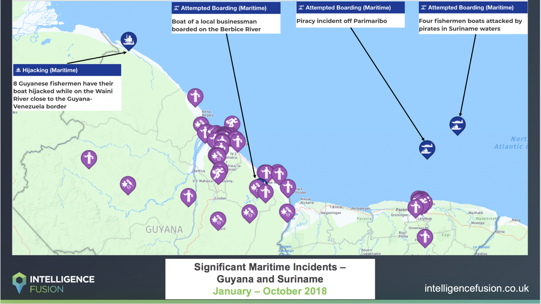 A map depicting the maritime related threats and cases of maritime criminality in Guyana and Suriname in 2018 so far