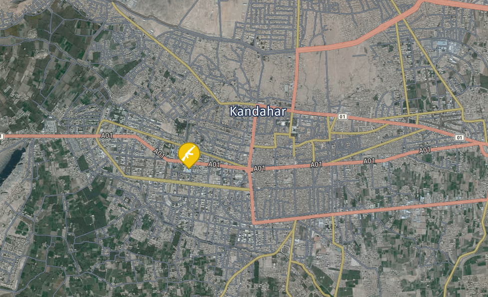 A map showing the location of the late General Raziq's compound in Kandahar