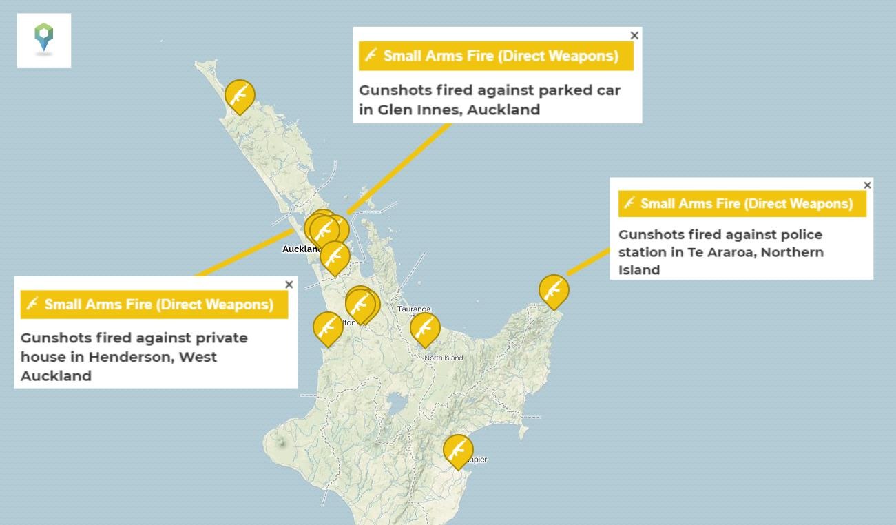 An outline of the significant gang-relates shootings across the Northern Island of New Zealand