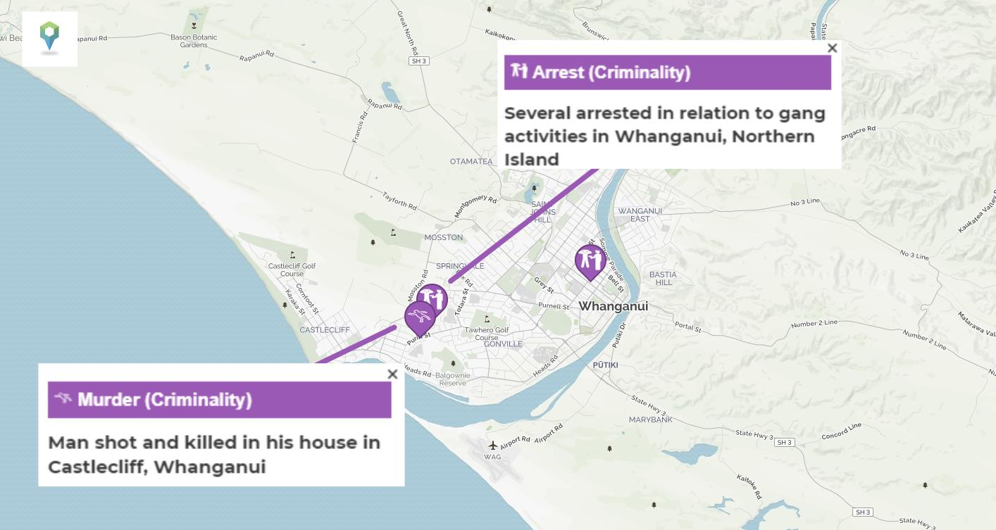 A map depicting the incidents of criminality in Whanganui, New Zealand