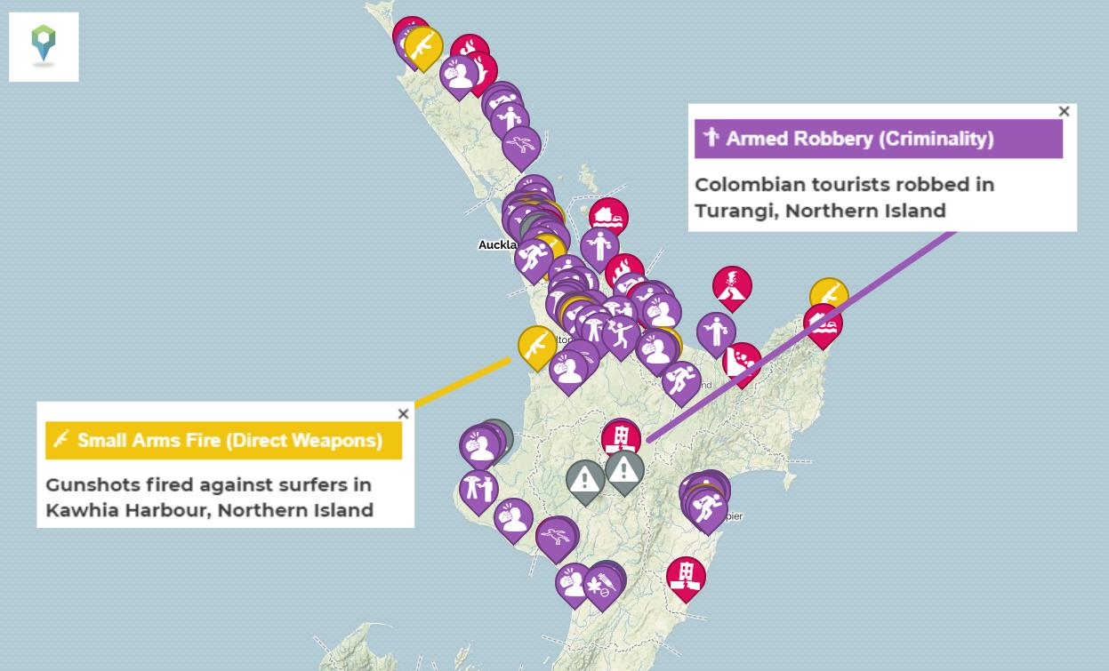 A map showing the crime against tourists in New Zealand and how safe it is to travel to NZ