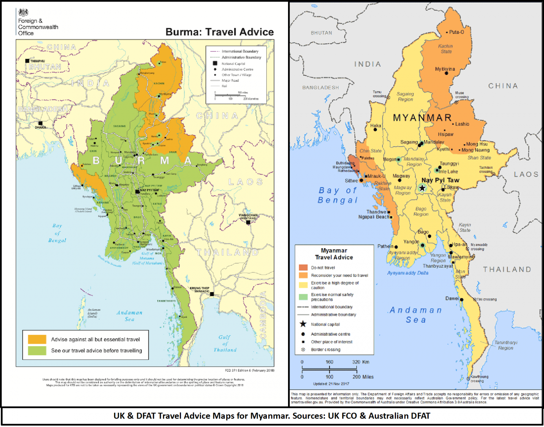 Map depicting travel warning across Myanmar from DFAT
