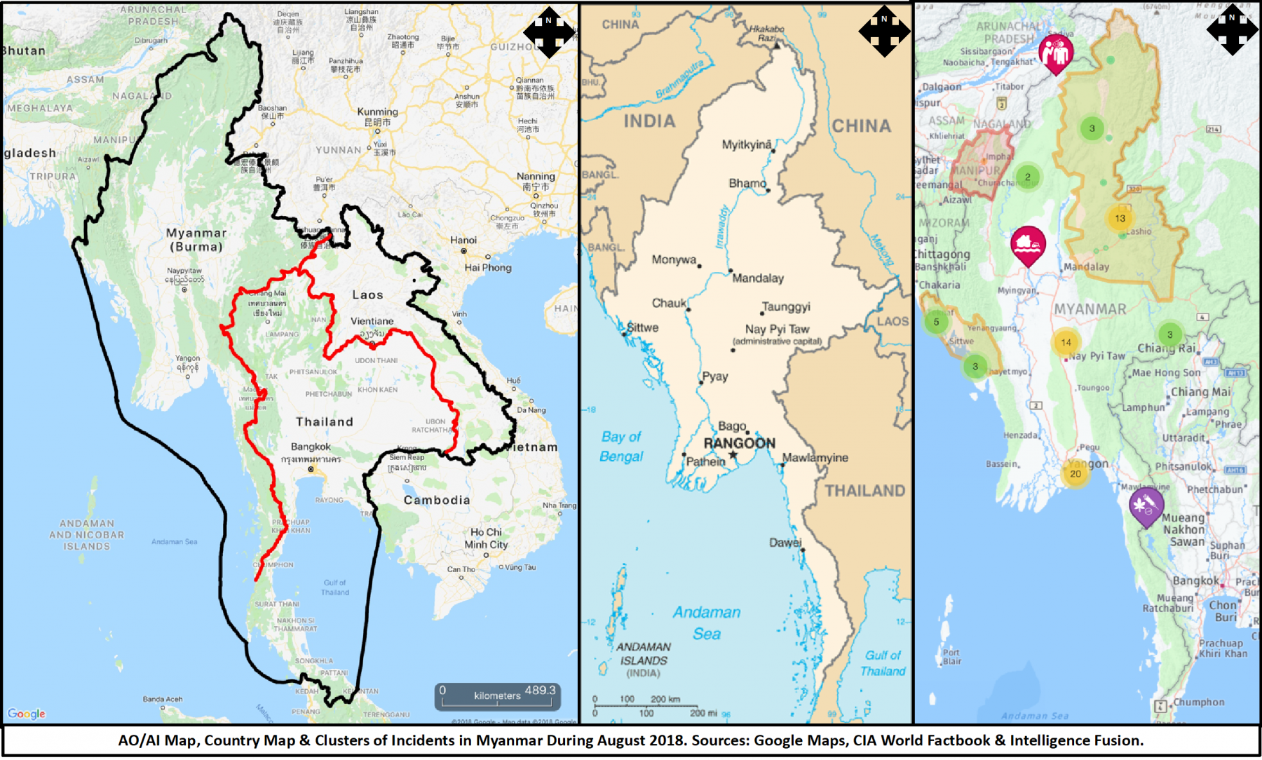 A map showing the most recent incidents in Myanmar during September 2018