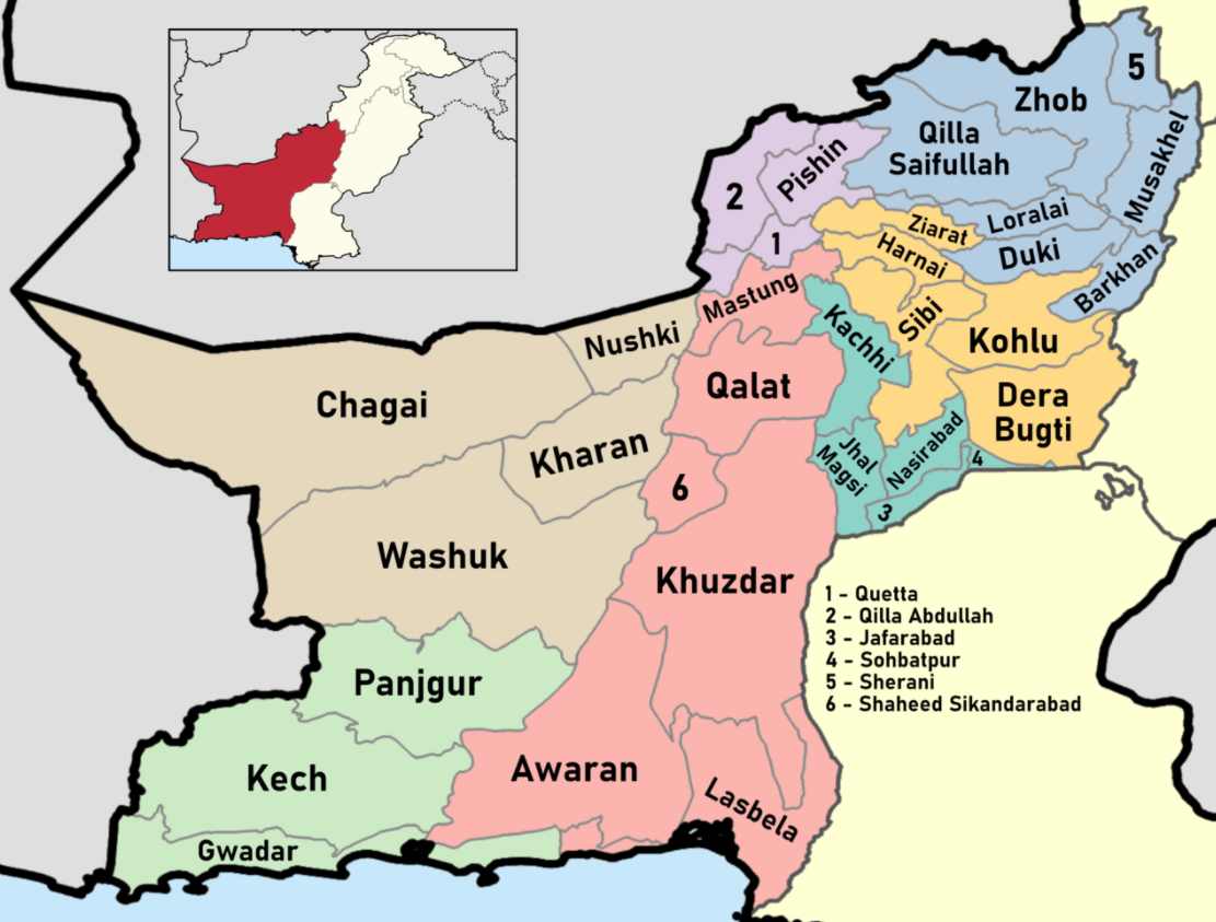 Map highlighting the districts of Balochistan, Pakistan