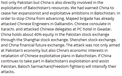 Extract From BLA affiliated-Telegram Channel Regarding China
