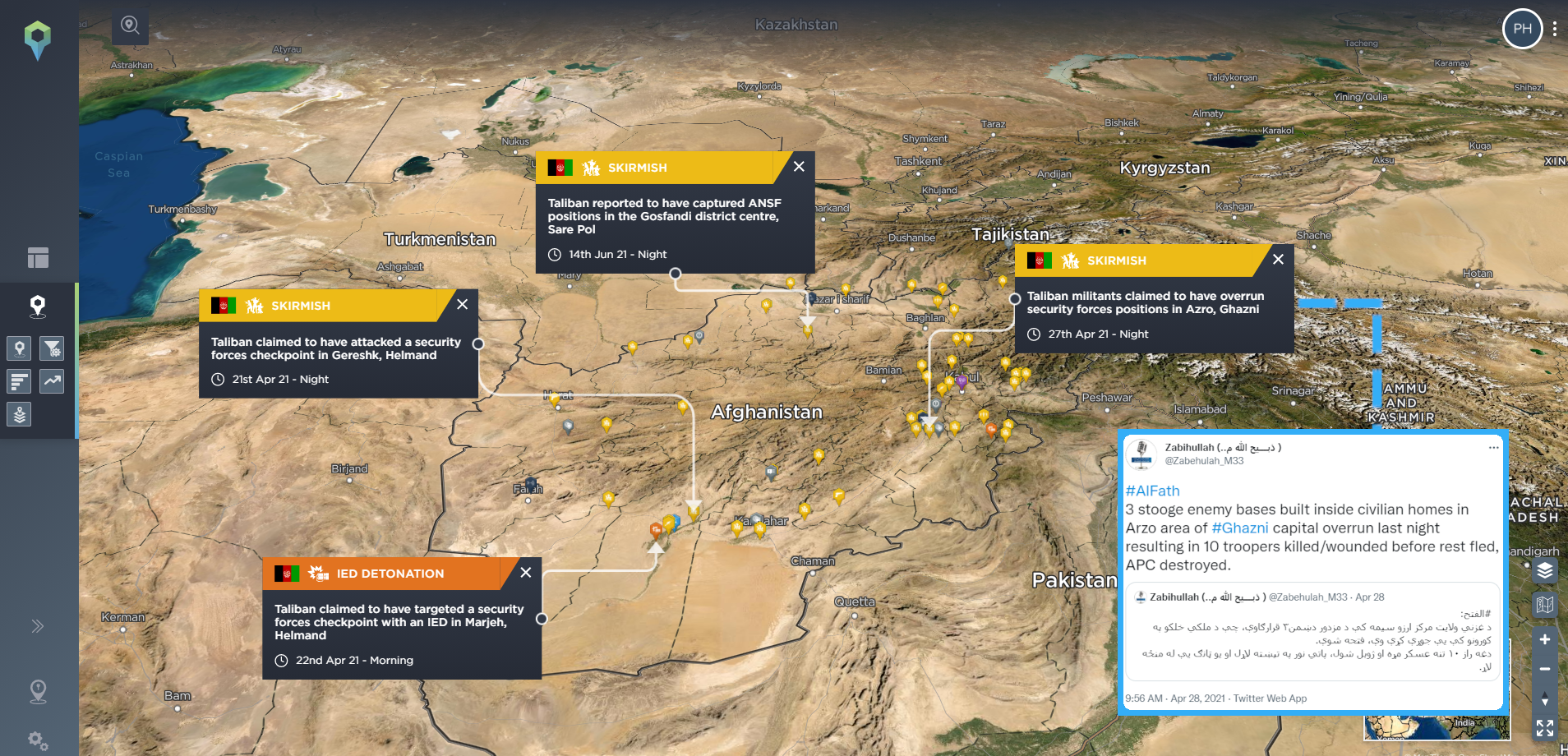 Taliban Twitter reporting victories casualties afghan army defeat