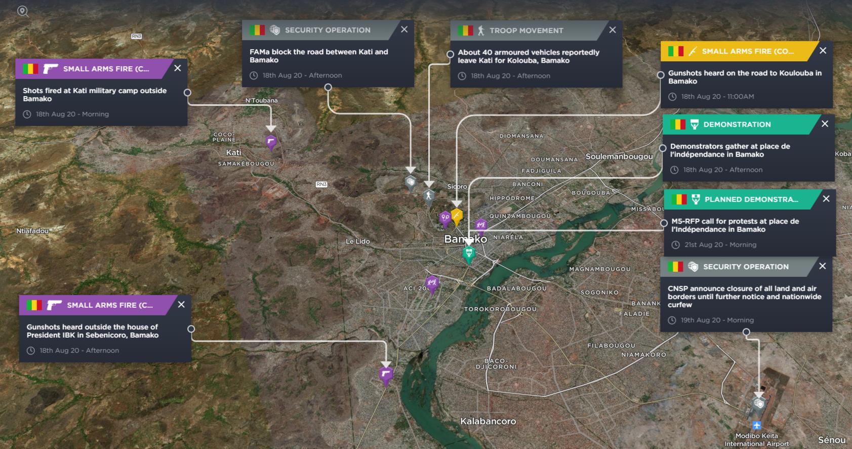 Reports of gunfire was heard at Kati's Soundiata military camp in Mali