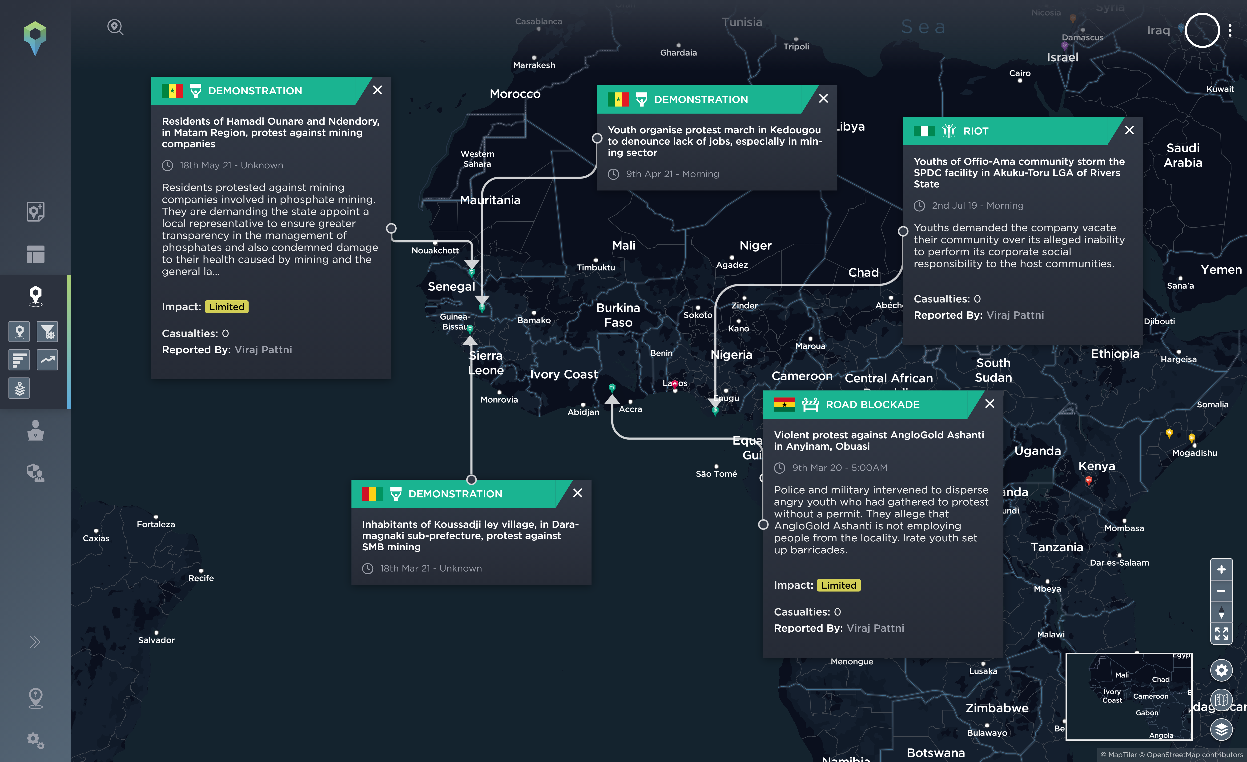 A map highlighting incidents of protest against mining and energy companies in West Africa in 2021