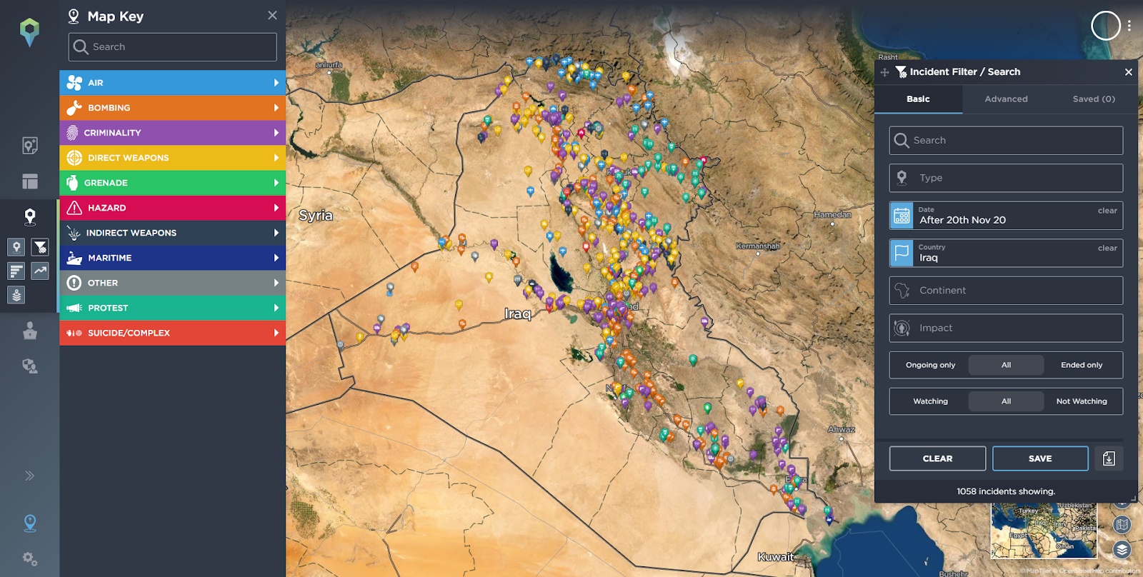 setting up a mining operation - Incidents reported in Iraq in the last 6 months.