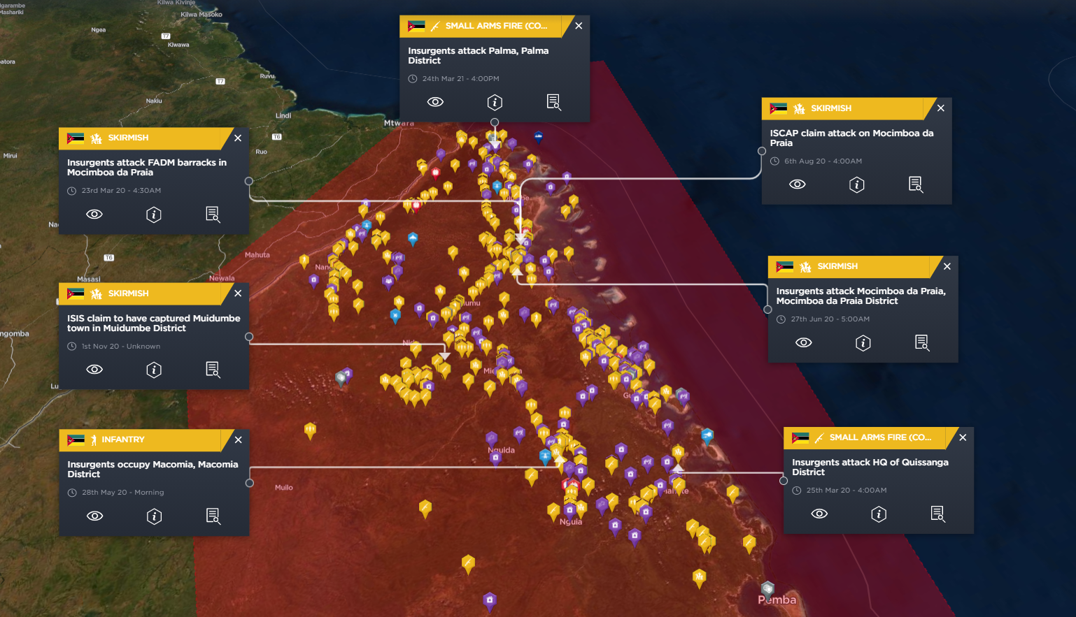 Significant ISIS attacks in Mozambique