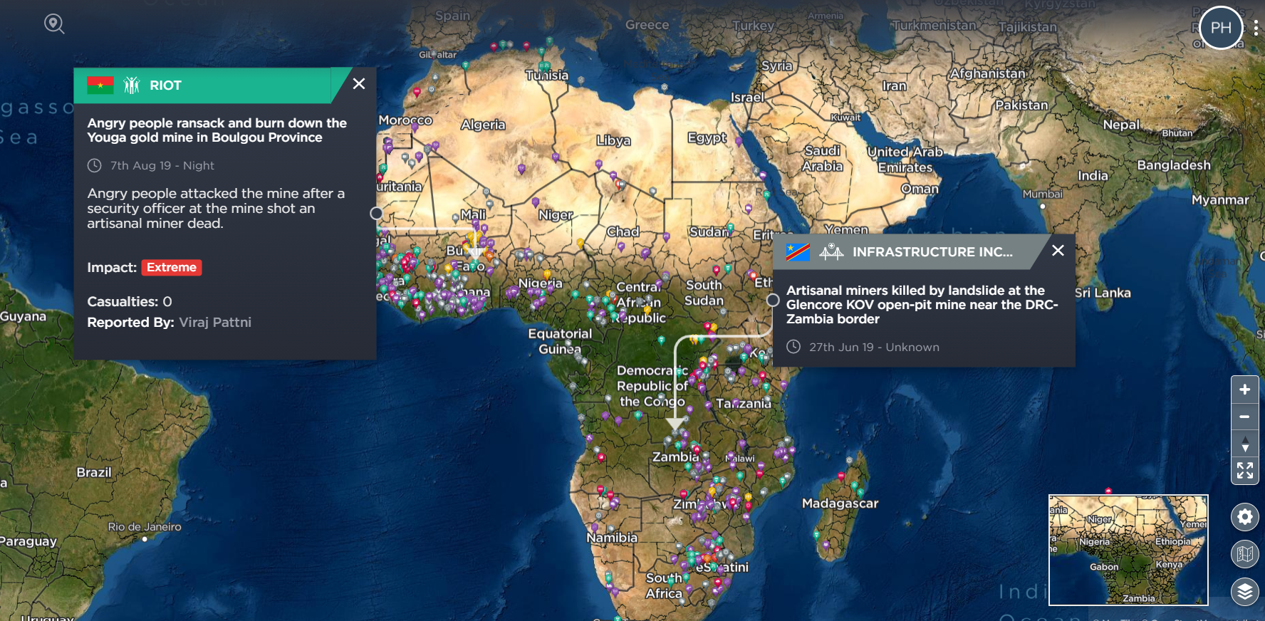 Tracking illegal mining and threats to mining in Africa