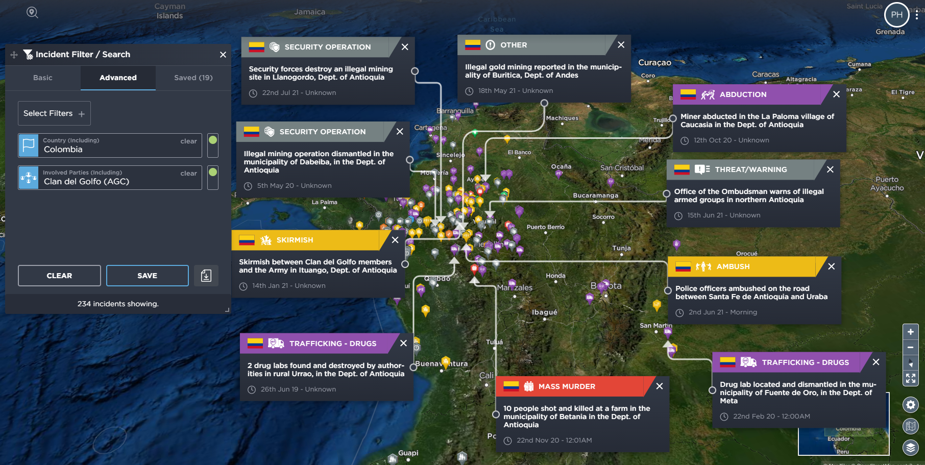 Tracking illegal mining and cartels in Colombia