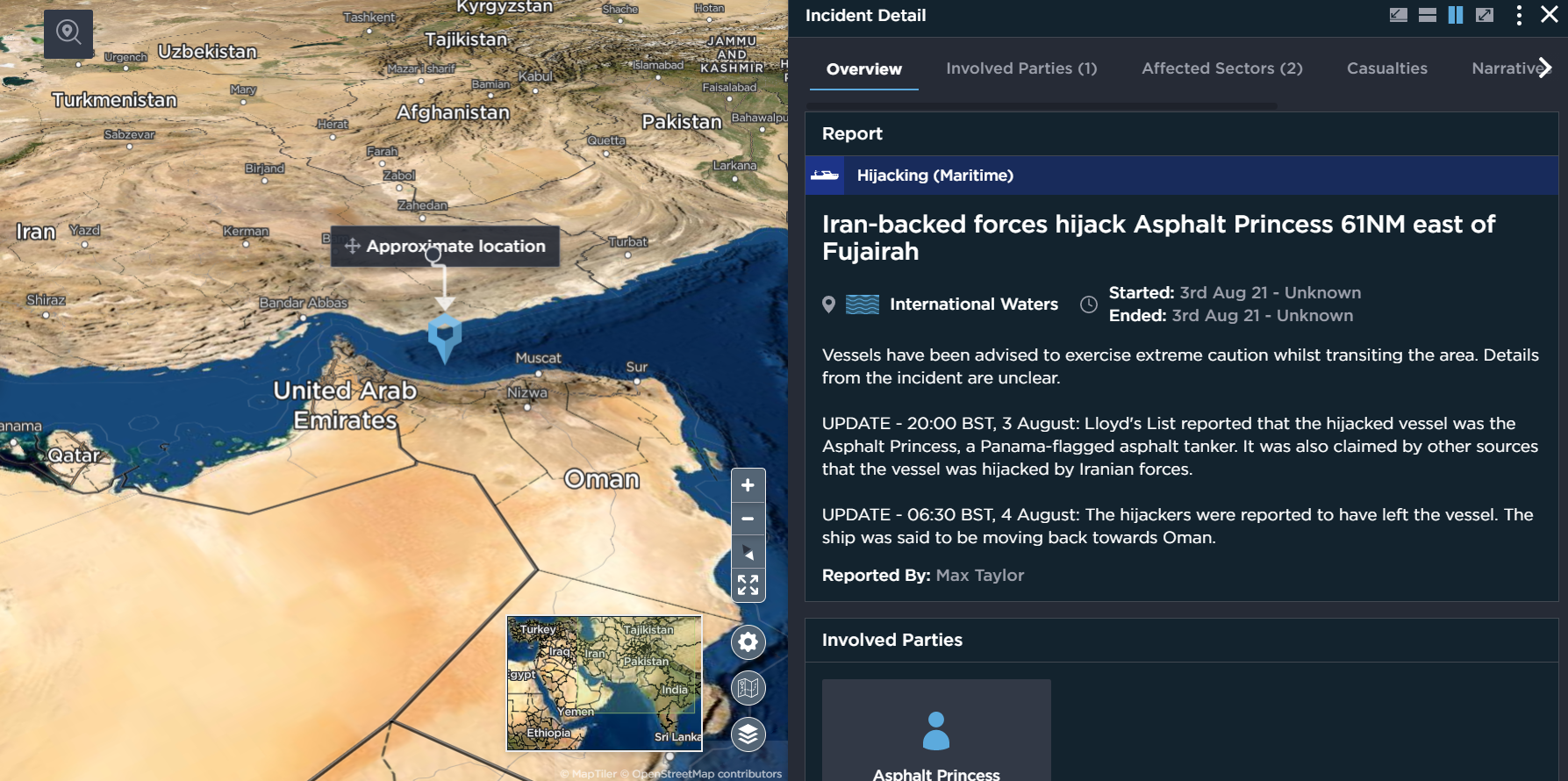 Asphalt Princess hijacking iran accused attack on shipping