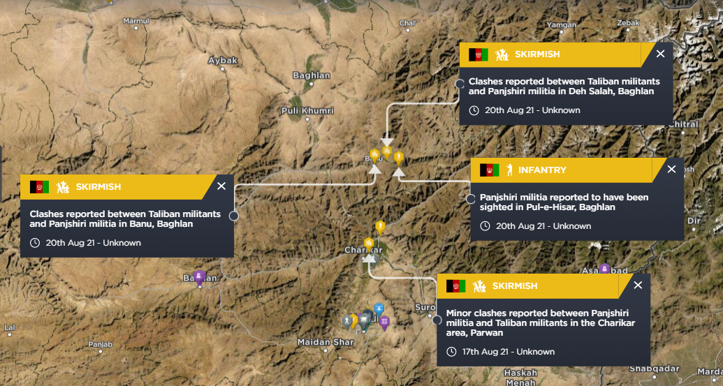 Map highlighting the locations of clashes in Baghlan Province, Afghanistan