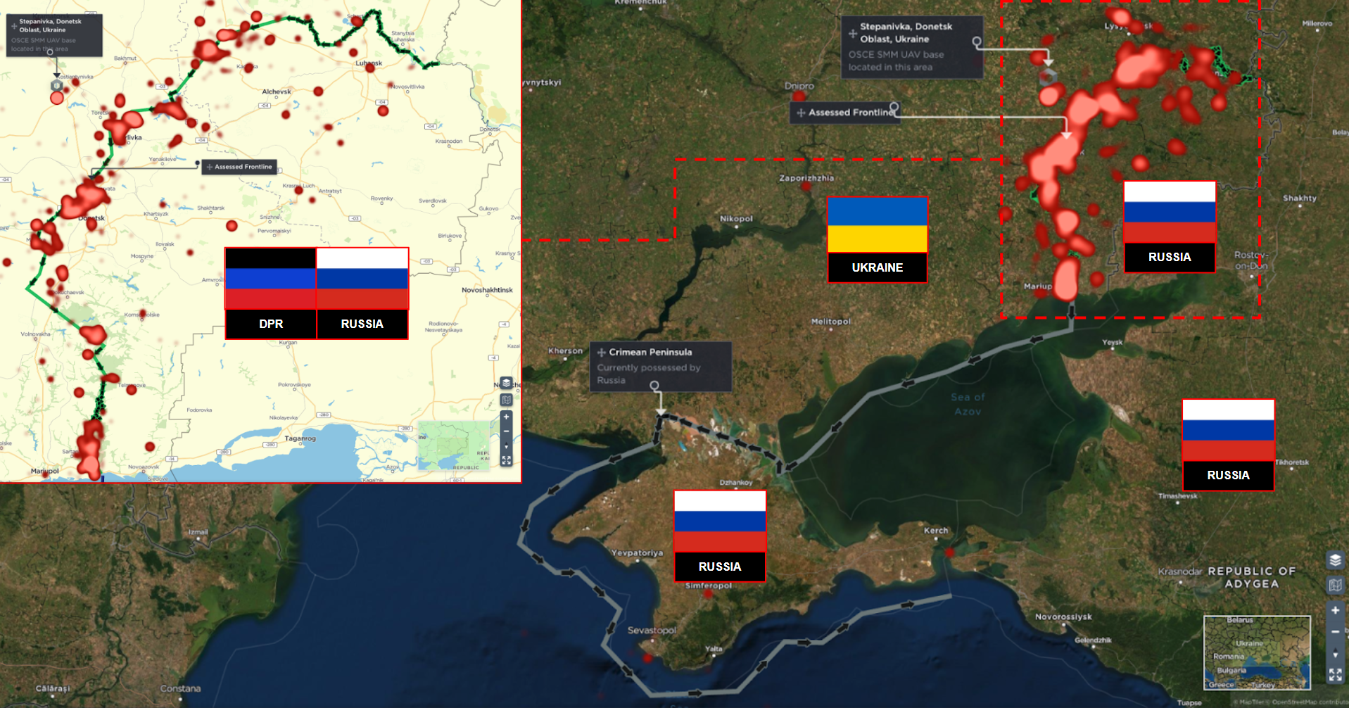 Donbass conflict hotspots and controlled territories russia ukraine war