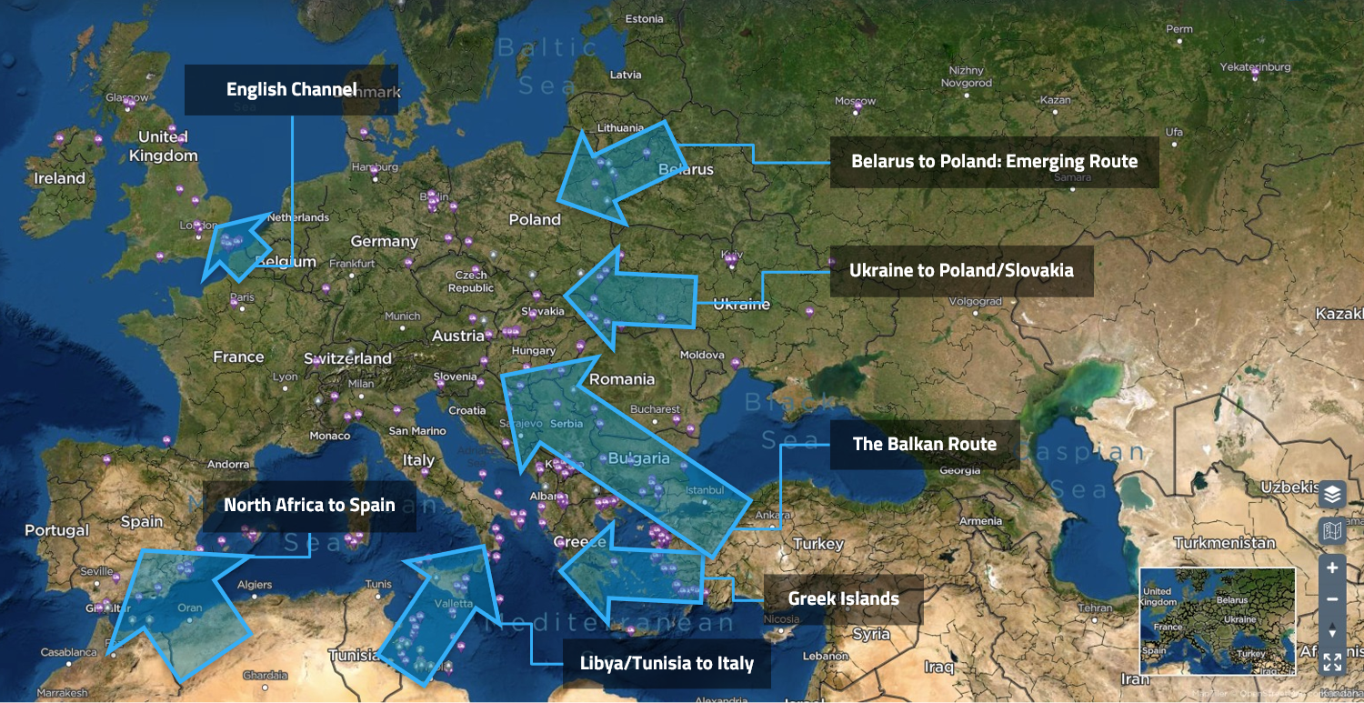 A map highlighting the most common human trafficking routes in Europe.
