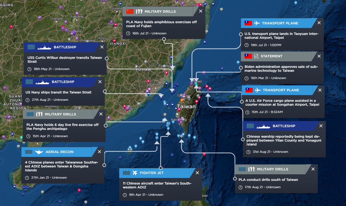 Map highlighting security alerts for the Taiwan Strait