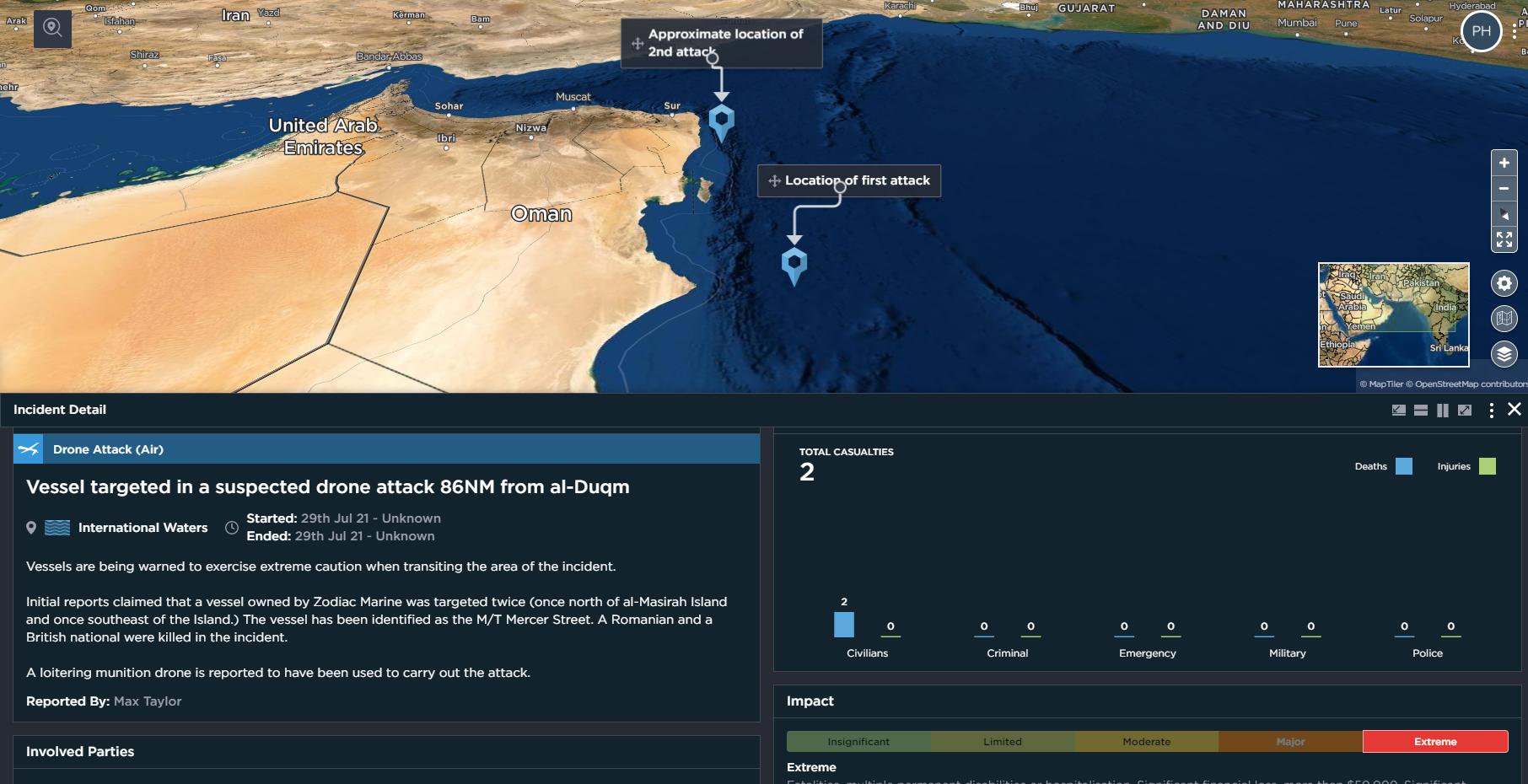 Iran Israel attack on Mercer Street July 2021