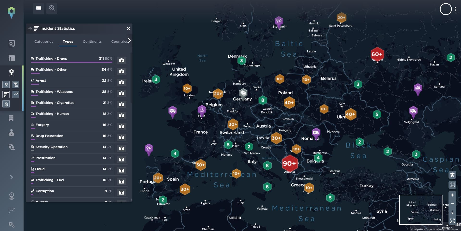 Overview of organised crime related incidents across Europe in 2021